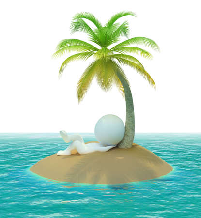 romantic getaway: 3d small people on has a rest a desert island. 3d image. Isolated white background.