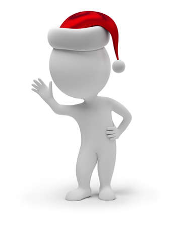 3d people: 3d small people - Santa Claus. 3d image. Isolated white background.