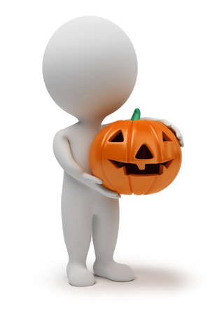 halloween party: 3d small people - concept for halloween. 3d image. Isolated white background.