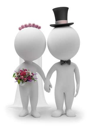 petites fleurs: 3D petit peuple - mariage le mari� et de la mari�e. image tridimensionnelle. Fond blanc isol�e. Banque d'images