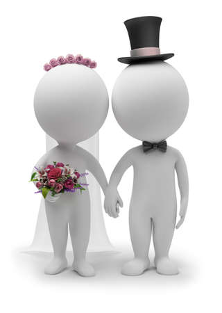 3d small people: 3d small people - wedding of the groom and the bride. 3d image. Isolated white background. Stock Photo