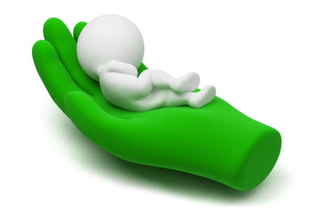 3d small people lying on a careful hand of the world. 3d image. Isolated white background. photo