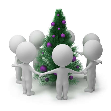 3d small people dancing round a New Years fur-tree. 3d image. Isolated white background. photo