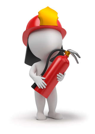 fire: 3d small people - fireman with the fire extinguisher and in a helmet. 3d image. Isolated white background.