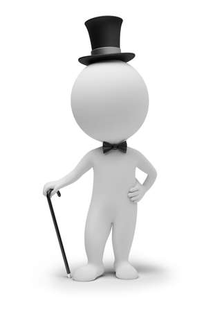 3d small people: 3d small people - gentleman in a hat and with a cane. 3d image. Isolated white background.