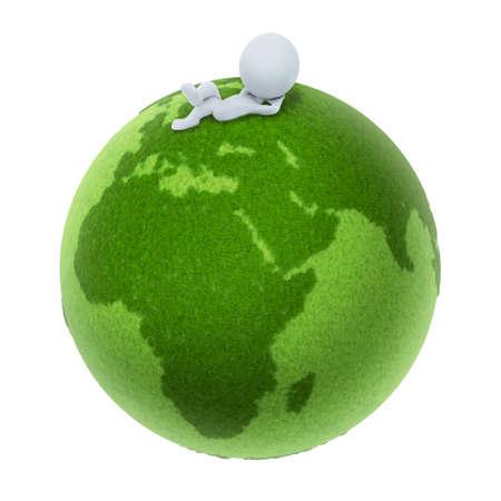 green planet: 3D petit peuple �tendu sur une plan�te verte. image 3D. Fond blanc isol�e.  Banque d'images