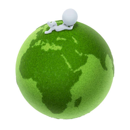 3d small people lying on a green planet. 3d image. Isolated white background. photo