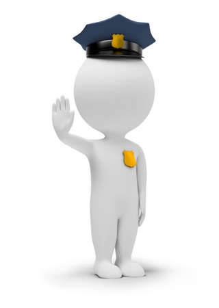 3d small people - policeman in a forbidding pose. 3d image. Isolated white background.
