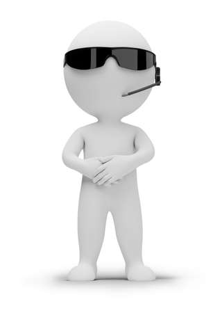 guard: 3d small people - security guard in dark glasses. 3d image. Isolated white background.