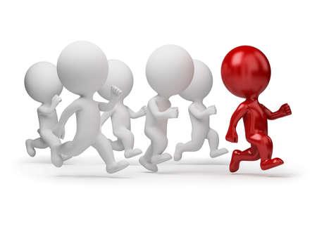individui: 3D piccole persone in esecuzione per il leader. immagine 3D. Sfondo bianco isolato.