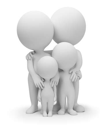????? 3d: 3d small people - parents with children. 3d image. Isolated white background.
