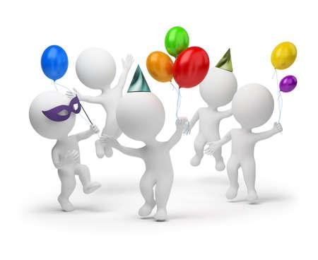 gente celebrando: 3D personas peque�as alegremente celebra una fiesta. imagen 3D. Fondo blanco aislado.