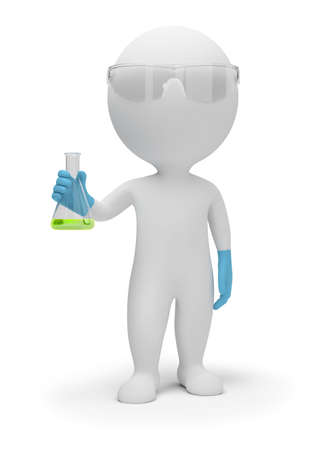 scientists: 3d small people the scientist with a flask in hands. 3d image. Isolated white background.