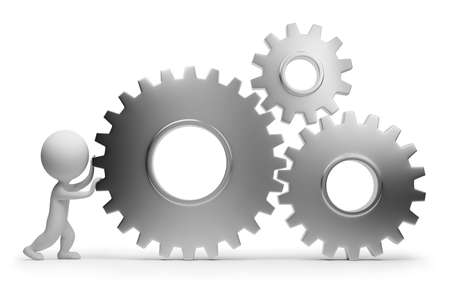 3d small people rolls gears. 3d image. Isolated white background  photo