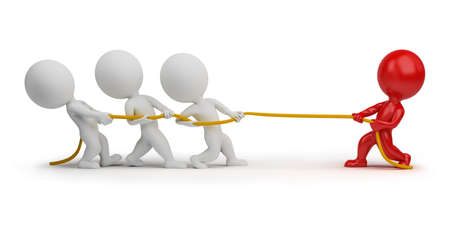 3d small people - rope pulling. 3d image. Isolated white background.
