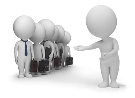 marioneta: 3D personas peque�as ha dado lugar a nuevos clientes. imagen 3D. Fondo blanco aislado.