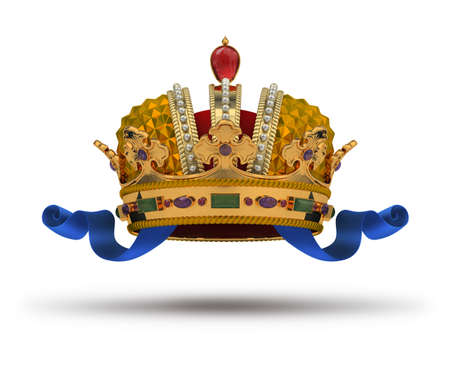 Crown with blue ribbon and a ruby. 3d image. Isolated white background.   photo