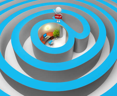 small office: 3d small people lost the way in the Internet a labyrinth. 3d image. Isolated white background.
