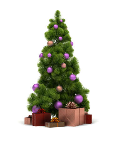 fur trees: Christmas tree and gifts. 3d image. Isolated white background.