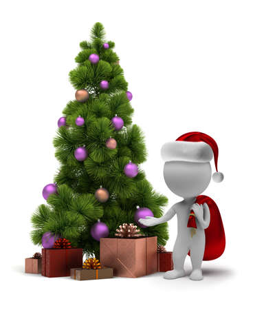 3d small people - Santa Claus and a Christmas tree. 3d image. Isolated white background. photo