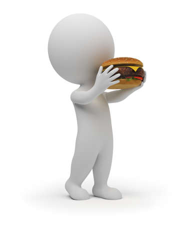 sandwiches: 3d small people eats the big hamburger. 3d image. Isolated white background. Stock Photo