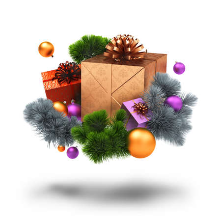Christmas decoration, gifts and pine branches. 3d image. Isolated white background. photo