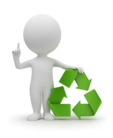3d small people with a recycling symbol. 3d image. Isolated white background. photo