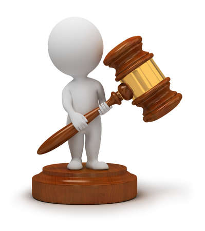 judge gavel: 3d small people with an auction hammer in hands. 3d image. Isolated white background. Stock Photo