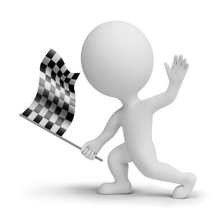 3d small people with a checkered flag in hands. 3d image. Isolated white background.