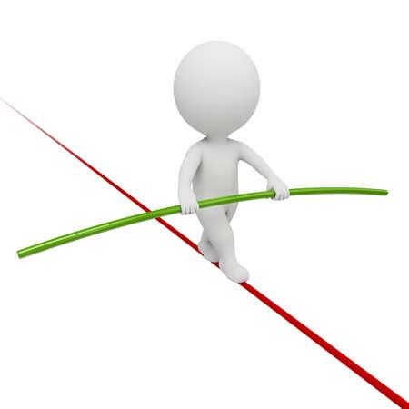 3D pequeñas personas - acrobat equilibrio sobre una cuerda. imagen 3D. Fondo blanco aislado.