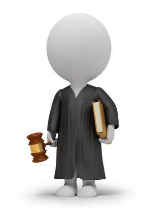 3D-kleine mensen - rechter in een mantel met een hamer en het boek. 3D-beeld. Geïsoleerde witte achtergrond.