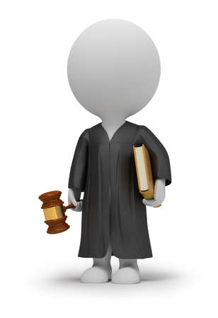 judiciary: 3d small people - judge in a cloak with a hammer and the book. 3d image. Isolated white background.