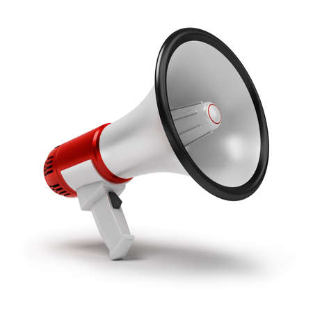 bullhorn: Megaphone. 3d image. Isolated white background.