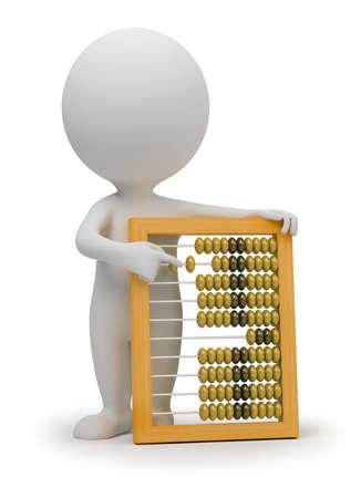 �baco: 3D personas peque�as con �baco. imagen 3D. Fondo blanco aislado. Foto de archivo