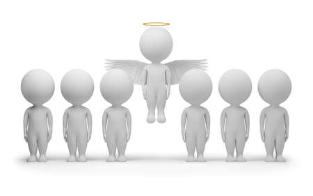 3d small people - flied up angel. 3d image. Isolated white background. photo
