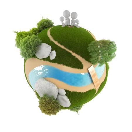 amor al planeta: 3D peque�o pueblo en el picnic, sentado en un planeta. imagen 3D. Fondo blanco aislado.