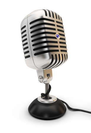 Retro a microphone. 3d image. Isolated white background. photo
