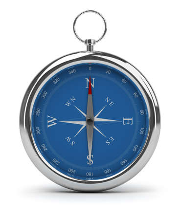 magnetic north: Compass pointing to North. 3d image. Isolated white background. Stock Photo