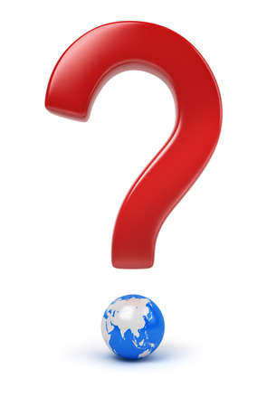 Global question. 3d image. Isolated white background. photo