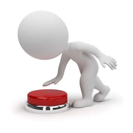 3d small people pressing the red button. 3d image. Isolated white background. photo