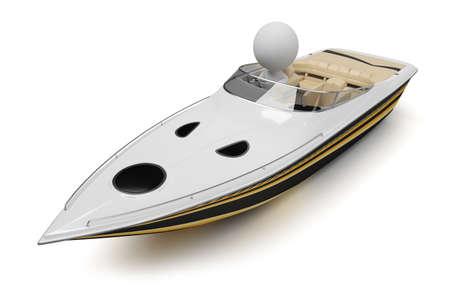 hombre pescando: 3D gente peque�a en un barco moderno. imagen 3D. Fondo blanco aislado. Foto de archivo