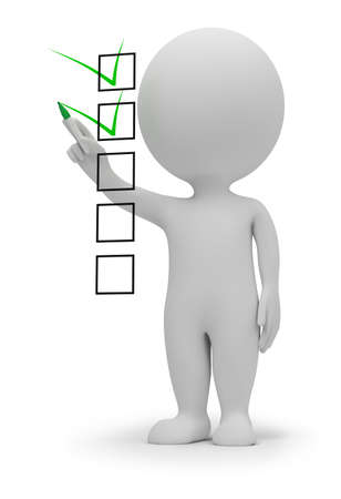 small people: 3d small people marking ticks in the checklist. 3d image. Isolated white background.