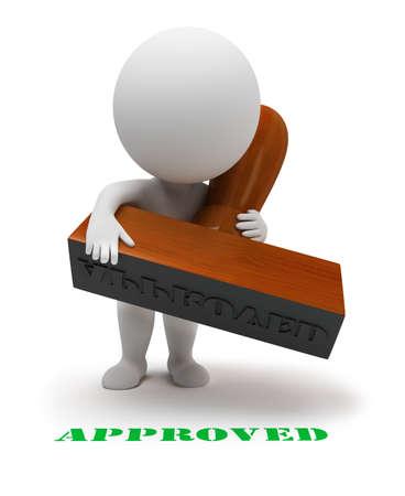 deacuerdo: 3D personas peque�as con un sello establece el sello se