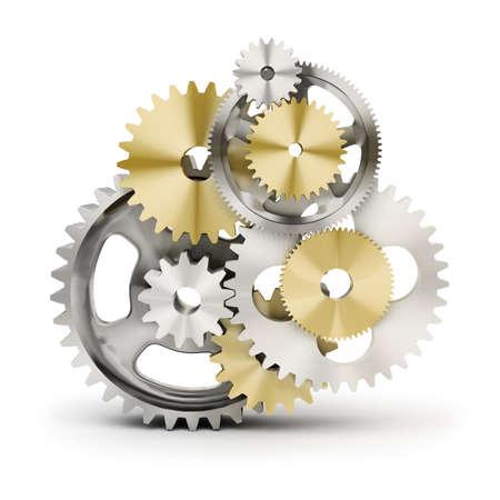 rueda dentada: Metal pulido engranajes. imagen 3D. Fondo blanco aislado.