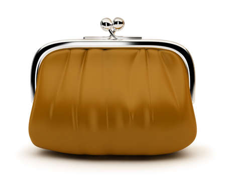Leather purse with the chromeplated rim. 3d image. Isolated white background. photo