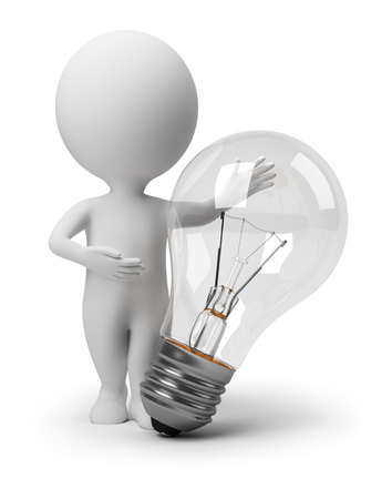3d image: 3d small people specifying in the big bulb. 3d image. Isolated white background. Stock Photo