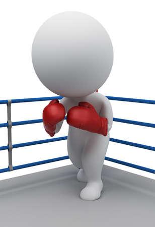 guantes de boxeo: 3D personas peque�as en los guantes de boxeo permanente en una esquina del ring. imagen 3D. Fondo blanco aislado.