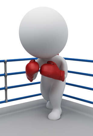 3d small people in boxing gloves standing in a corner of the ring. 3d image. Isolated white background. photo