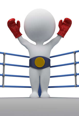 3d small people - boxer with a belt of the champion. 3d image. Isolated white background.