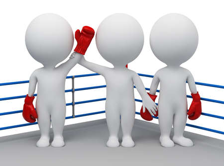 3d small people - choice of the winner of a boxing round. 3d image. Isolated white background. photo